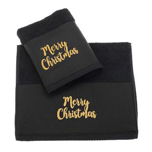 Μαύρες χριστουγεννιάτικες πετσέτες