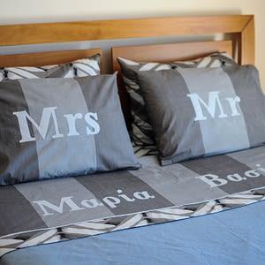 Γκρι σεντόνια Mr & Mrs